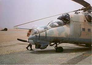Toyota War - A Libyan Mil Mi-25 captured by Chadian forces at Ouadi Doum.