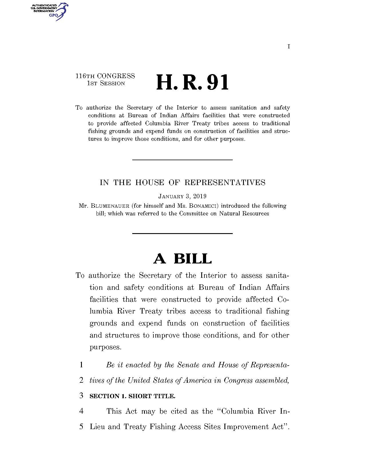 fa68c95af19 File 116th United States Congress H. R. 0000091 (1st session) - Columbia  River In-Lieu and Treaty Fishing Access Sites Improvement Act.pdf