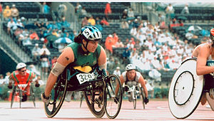 Australia at the 1996 Summer Paralympics - Atlanta 1996 - Louise Sauvage on the track.