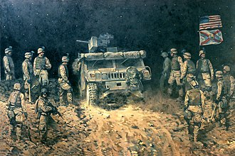 29th Infantry Division (United States) - A 2005 oil painting depicting soldiers from the 2-124th participating in the 2003 invasion of Iraq.