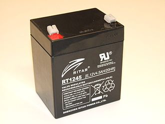 VRLA battery - A 12V VRLA battery, typically used in small uninterruptable power supplies and home security systems