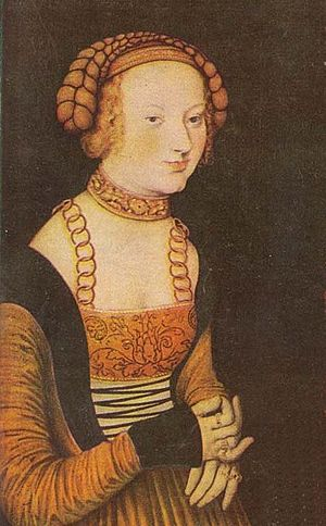 Sidonie of Saxony - Oil painting by Lucas Cranach the Elder