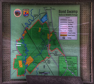 Bond Swamp National Wildlife Refuge - map of area