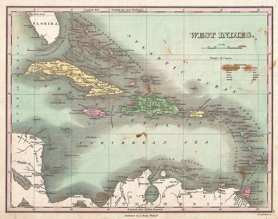 Map Caribbean Islands Huricanes Now