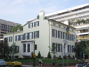 George Washington University - The historic 1925 F Street Club currently serves as the President's Residence. International Monetary Fund buildings are seen behind it.
