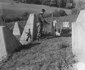 We're Going to Hang out the Washing on the Siegfried Line - The Allies did not conquer the Siegfried Line until 1945. US Army Signal Corps Photo.