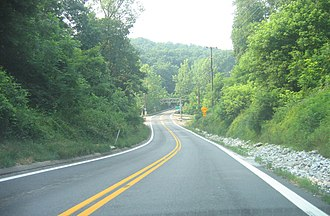 Maryland Route 97 - Southbound MD 97 approaching Howard/Carroll county border.