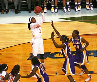 2008 NCAA Division I Women's Basketball Tournament - Tournament Most Outstanding Player Tennessee forward Candace Parker shoots over LSU center Sylvia Fowles in the national semifinals.