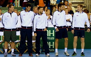 Great Britain Davis Cup team - From left to right: Smith, Ward, Evans, Colin Fleming and Jonathan Marray after their 2013 tie against Russia