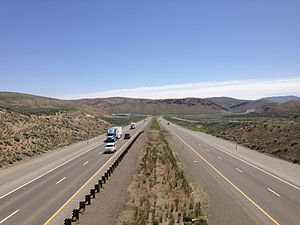 Interstate 80 in Nevada - View east along I-80 from an overpass approaching Carlin Canyon