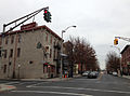 2014-12-20 15 00 52 A old traffic light painted green at the intersection of Perry Street and Montgomery Street in Trenton, New Jersey.JPG