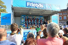 2014 Tour of Britain stage 5 team NFTO signing on at Exmouth.JPG