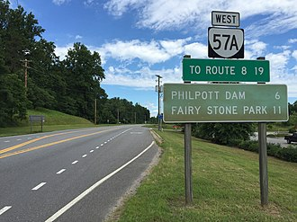 Virginia State Route 57 - View west along SR 57A near Stanleytown