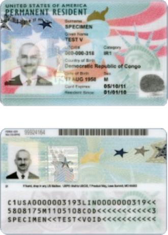 "Lawful permanent residents (United States) - Sample of a ""Permanent Resident Card"" (often nicknamed as a 'green card') of the United States (2017)."