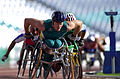 211000 - Athletics wheelchair racing 10km heat John Maclean action - 3b - 2000 Sydney race photo.jpg