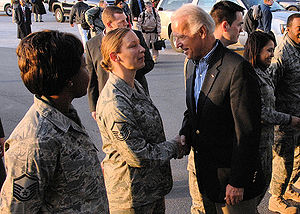 387th Air Expeditionary Group - Airmen from the 387th Air Expeditionary Group greet Vice President-elect Joe Biden as he boards an aircraft headed to Iraq 12 Jan. 2008. Vice President-elect Biden is headed into Iraq as part of his trip to the region.