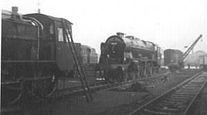 Crewe Works - Rebuilt Royal Scot Class No. 46123 Royal Irish Fusilers receiving attention at Crewe Works with other locomotives