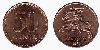 Coins of the Lithuanian litas - Image: 50 centai (1991)