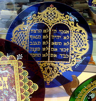 Ten Commandments - The Ten Commandments on a glass plate