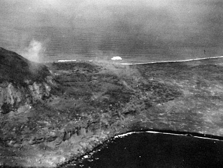 19 February 1945 air view of southern part of Iwo Jima 80-G-304970 (29428528301).jpg