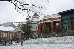 Appalachian State University - A view from Sanford Mall. From left to right is D.D. Dougherty Hall, Belk Library, and Plemmons Student Union