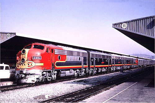 The Atchison, Topeka and Santa Fe Railway's combined Super Chief-El Capitan pulls into Los Angeles's Union Passenger Terminal on September 24, 1966. AT&SF44CatLosAngelesCA9-24-66.jpg