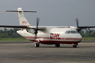 Solenta Aviation - A Solenta Aviation ATR 42 in DHL colors at Port Harcourt International Airport in 2005.