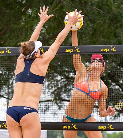 Unlike indoor volleyball, a touch off the block counts as one of the three allowed touches. AVP Professional Beach Volleyball in Austin, Texas (2017-05-21) (34684816854).jpg