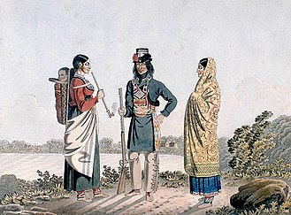 Métis - Image: A Métis man and his two wives, circa 1825 1826