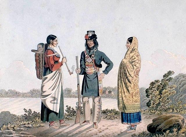 A Métis man and his two wives, circa 1825-1826