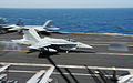 A U.S. Navy F-A-18C Hornet aircraft assigned to Strike Fighter Squadron (VFA) 15 lands on the flight deck of the aircraft carrier USS George H.W. Bush (CVN 77) in the Persian Gulf Aug. 8, 2014 140808-N-MU440-025.jpg