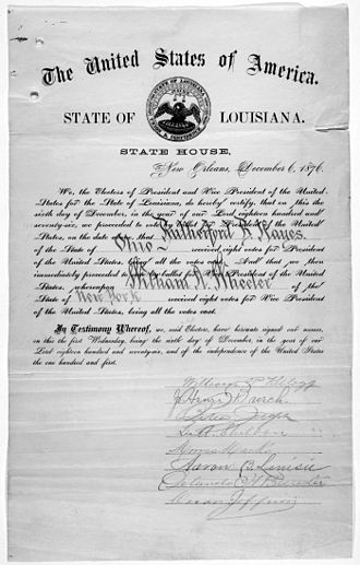 Twelfth Amendment to the United States Constitution - Certificate for the electoral vote for Rutherford B. Hayes and William A. Wheeler for the State of Louisiana