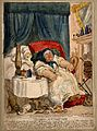 A convalescing woman trying in vain to rouse her slumbering Wellcome V0011149.jpg