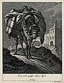 A large mule carrying a load with a dog on top is walking on Wellcome V0021153ER.jpg
