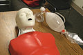A mannequin and a bag valve mask are used to train U.S. Marines in cardiopulmonary resuscitation (CPR) for emergency procedures at Marine Corps Air Station Beaufort, S.C., Jan. 28, 2010 100128-M-QS915-003.jpg