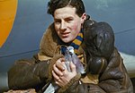 A member of the crew of an RAF Coastal Command Lockheed Hudson holding a carrier pigeon, 1942. TR42.jpg