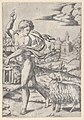 A naked young man walking left, carrying a lantern and looking backwards over his shoulder at a ram MET DP854404.jpg