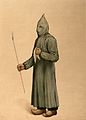 A physician wearing a plague preventive costume in Marseille Wellcome V0010643.jpg