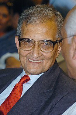 A portrait of the Nobel Laureate and well known Economist Dr. Amartya Sen taken during the release of his book 'The Argumentative Indian - Writings on Indian History, Culture and Identity', in New Delhi on August 1, 2005.jpg
