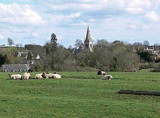 Billesdon - Billesdon Church, with ridge and furrow in foreground