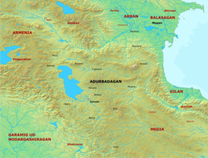 Isfandyadh - Map of Adurbadagan and its surroundings.