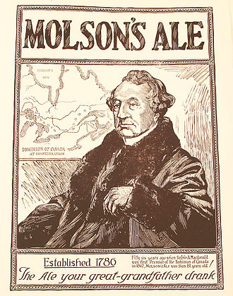"Molson Brewery - 1924 advertisement; ""Fifty six years ago when Sir John A. Macdonald/ was first premier of the Dominion of Canada/ in 1867, MOLSON'S ALE was then 81 years old!"""