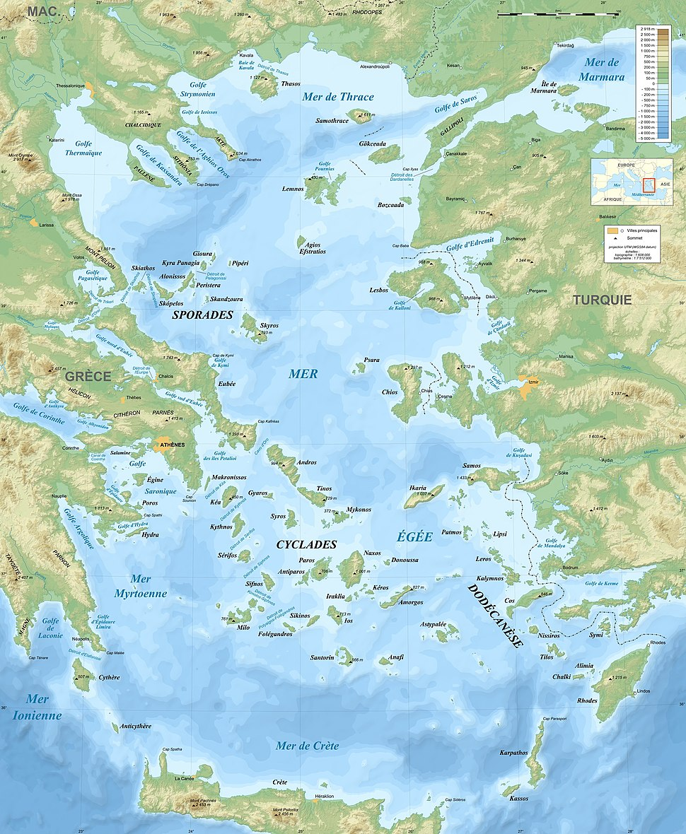 Aegean Sea map bathymetry-fr