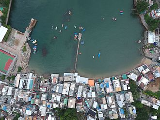 Yung Shue Wan - An aerial view of Main Street and surrounding areas in Yung Shue Wan