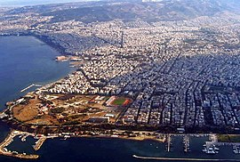Aerial photo of Eastern Thessaloniki. The stadium of Apollon Kalamarias and the Marina of Aretsou are visible