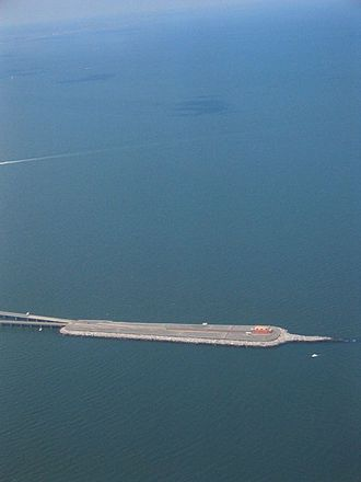 Chesapeake Bay Bridge–Tunnel - One of the artificial islands making up part of the bridge–tunnel complex, seen from the air
