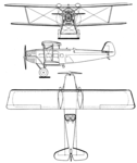 Aero A.23 Lorraine-Dietrich 12C motor 3-view Les Ailes May 17,1928.png
