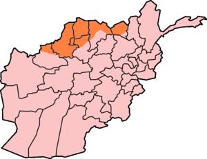 Afghan Turkestan - Approximate boundaries of Afghan Turkestan (in orange), with respect to modern-day provinces of Afghanistan.