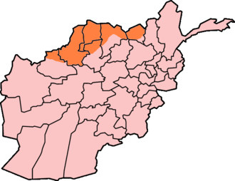 Afghan Turkestan - Approximate boundaries of Afghan Turkestan (in orange), with respect to modern-day provinces of Afghanistan.