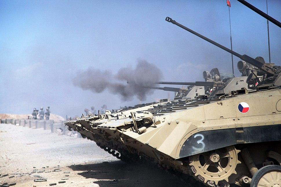 Afghanistan - Czech BVP2 tanks are firing